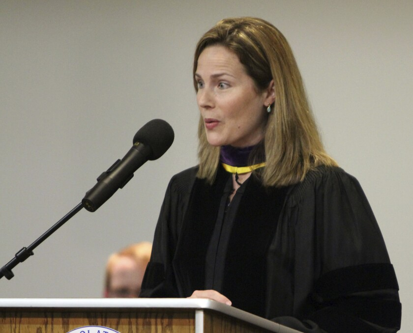 Amy Coney Barrett speaking in South Bend, Ind., in 2011