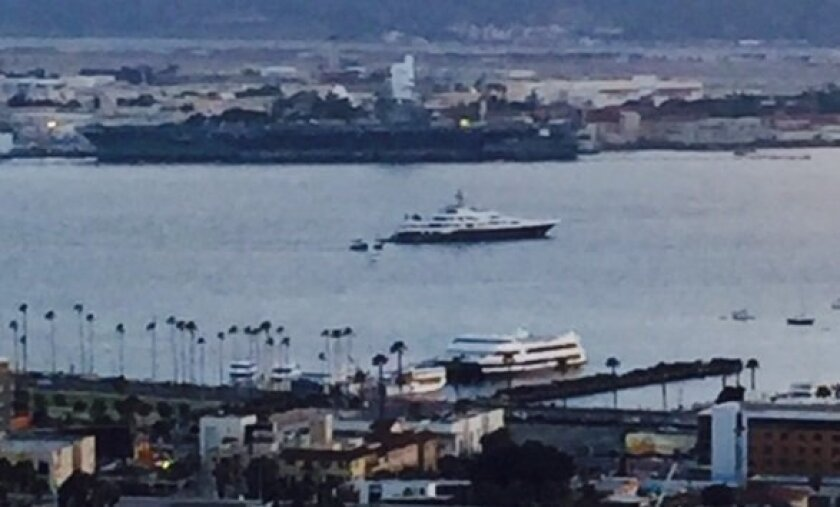 Diners at Bertrand at Mister A's had this view of super yacht Attessa IV in San Diego's harbor June 4 and 5. The luxury mega yacht is owned by billionaireDennis Washington.
