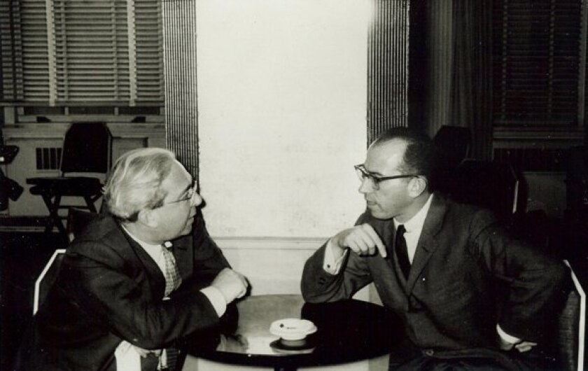 In January 1957, Szilard met with Jonas Salk (right) at a biology conference at the Waldorf Astoria Hotel in New York City. Szilard proposed establishing a biology studies center at the same time that Salk was considering creating one. Szilard visited La Jolla for the first time later that year, a trip that influenced him to lobby Salk to place the center in San Diego County.