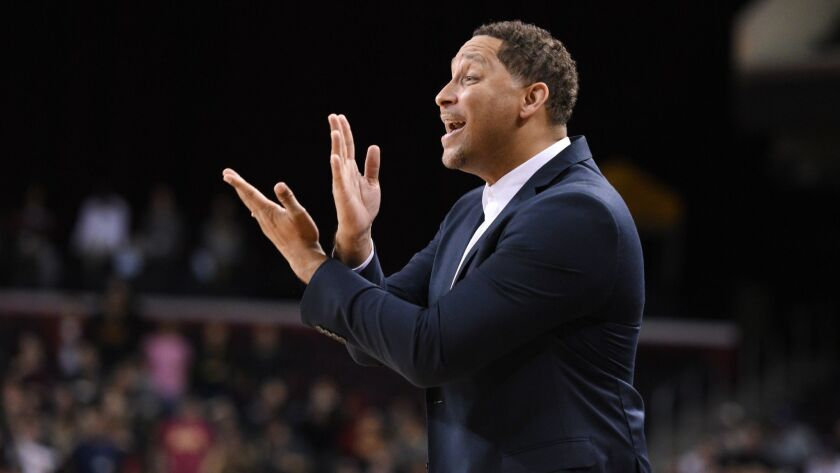 LOS ANGELES, CA - JANUARY 05: USC assistant coach Tony Bland yells out instructions during an NCAA b