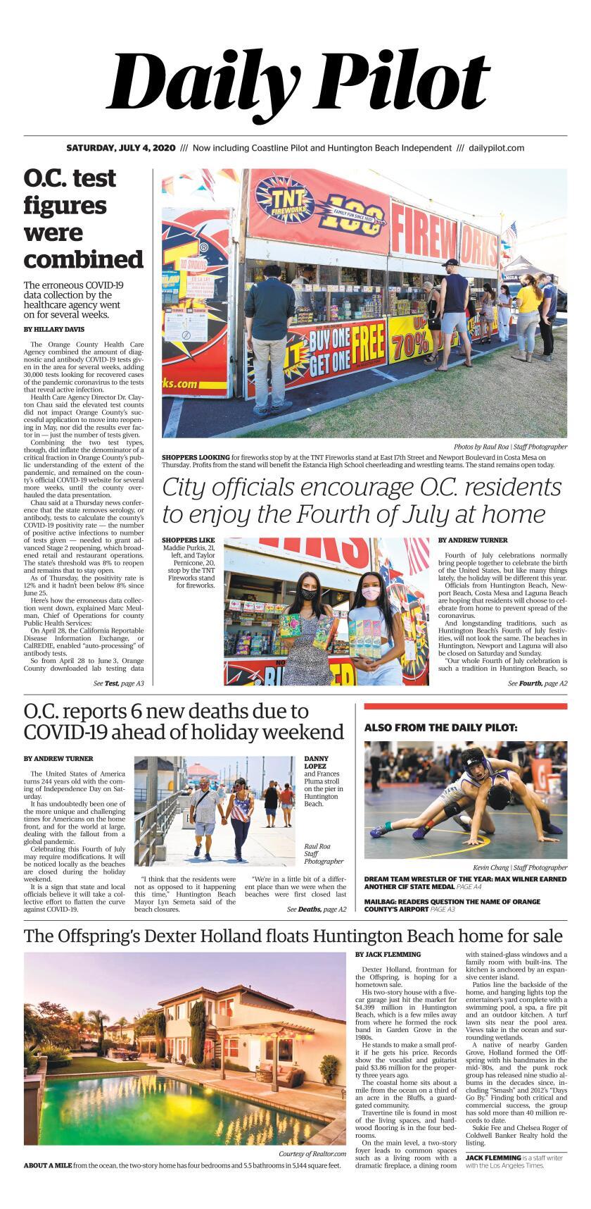 Daily Pilot e-Newspaper: Saturday, July 4, 2020 Cover