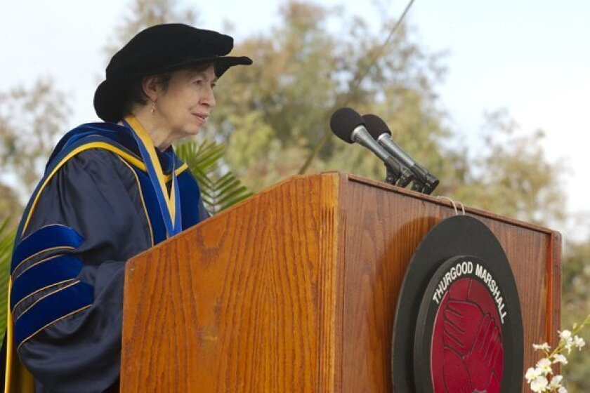 UCSD chancellor Marye Anne Fox speaking at the 2010 graduation. Photo: UCSD