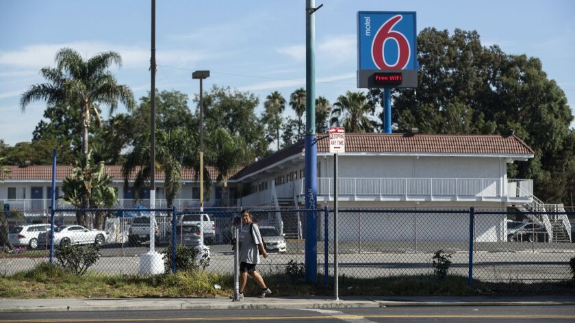 NORTH HILLS, CALIF. -- THURSDAY, AUGUST 30, 2018: Motel 6 on Roscoe Boulevard, where one company ha