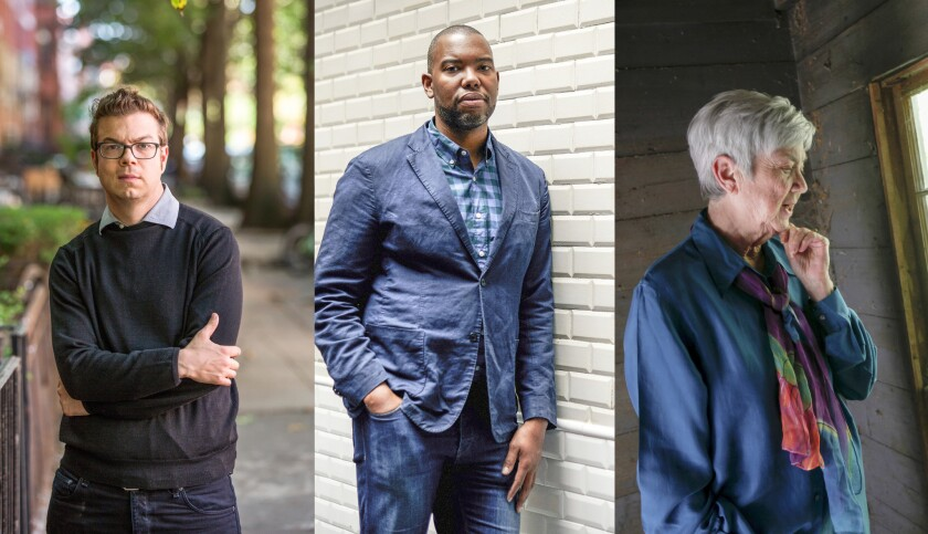 """New literary MacArthur """"genius grant"""" recipients: Ben Lerner, Ta-Nehisi Coates and Ellen Bryant Voight."""