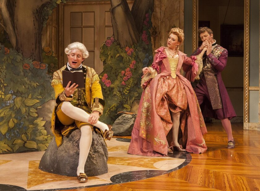 Michael Goldstrom as Mondor, Amelia Pedlow as Lucille and Cary Donaldson as Dorante (gorgeous costuming by Murell Horton) in the West Coast premiere of 'The Metromaniacs,' presented in association with Shakespeare Theatre Company at The Old Globe.