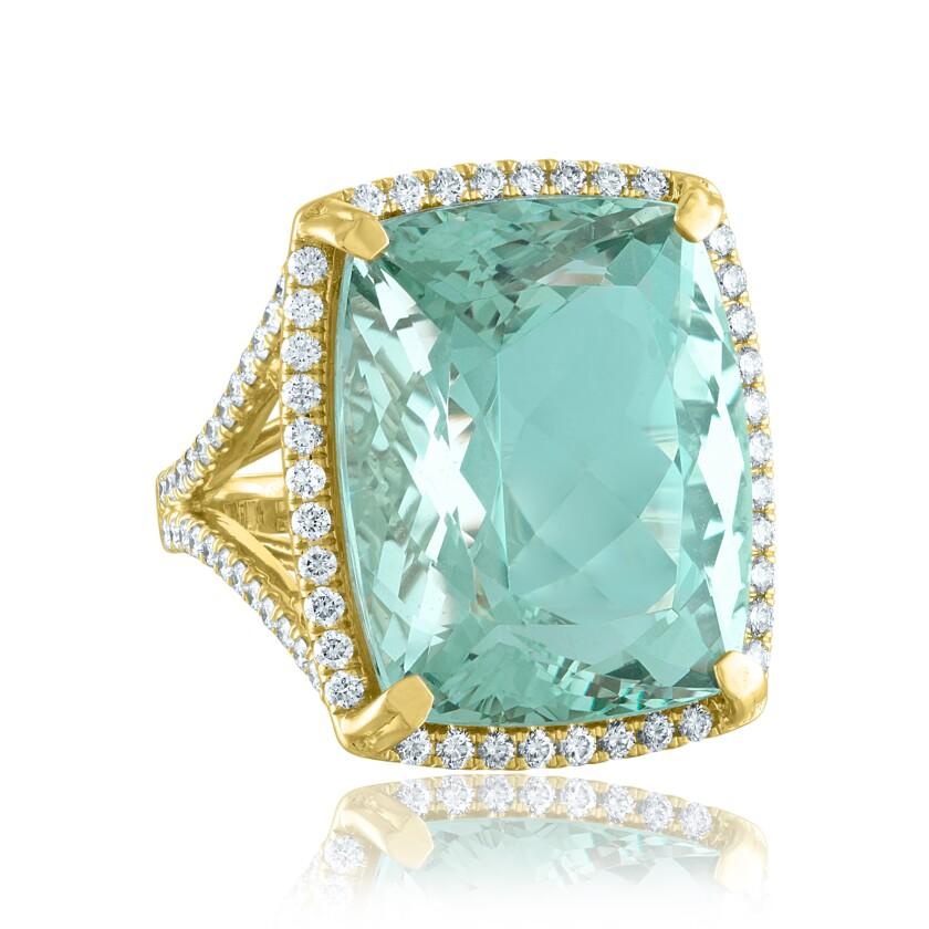 A $28,000 green beryl ring by Lisa Nikfarjam