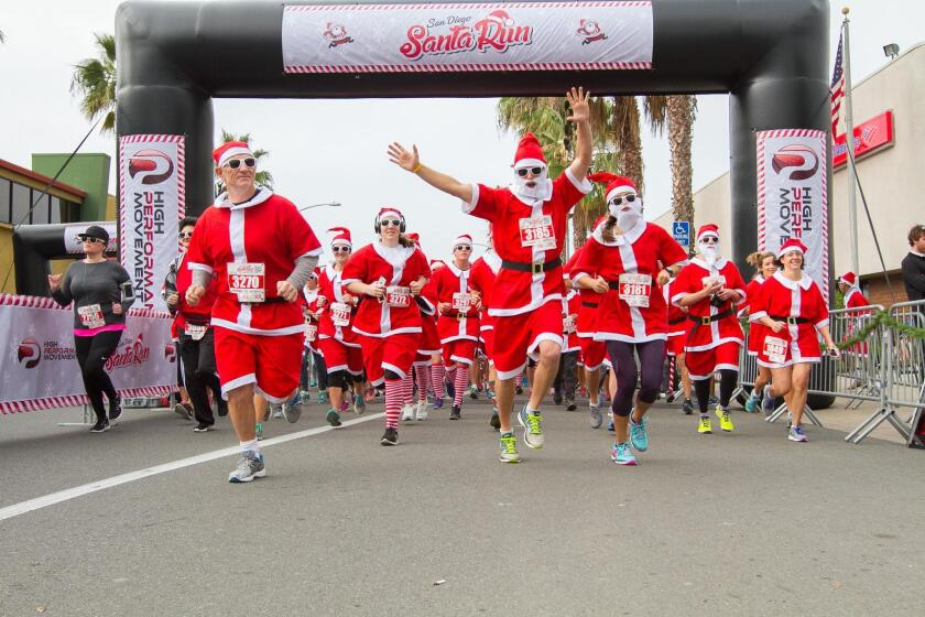 Thousands of Santas will take to the streets for the San Diego Santa Fun Run 5K starting 10 a.m. Saturday, Dec. 9, 2017 in Pacific Beach.