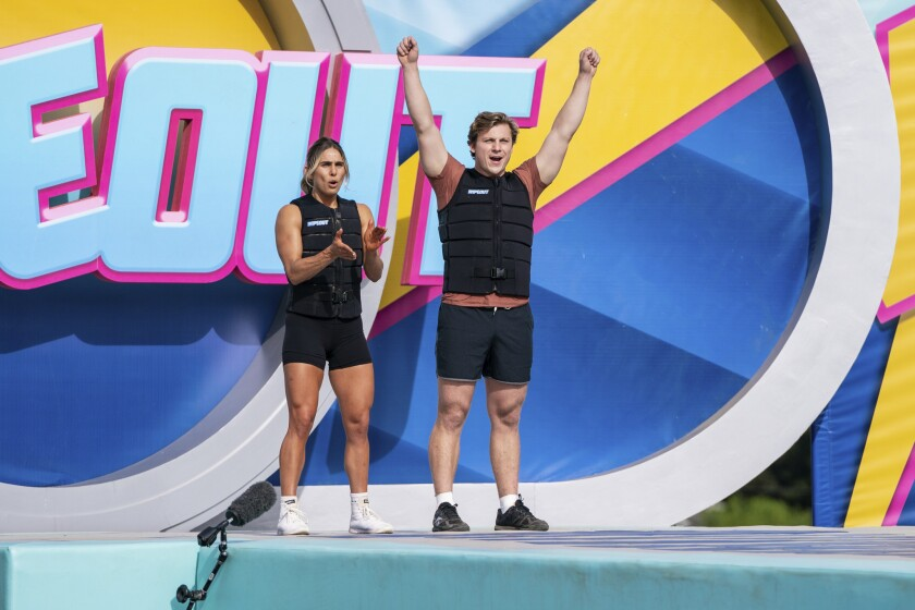"Kaitlyn Kassis and La Jolla Realtor Connor Nellans won the April 15 ""Wipeout"" episode and its $25,000 prize."