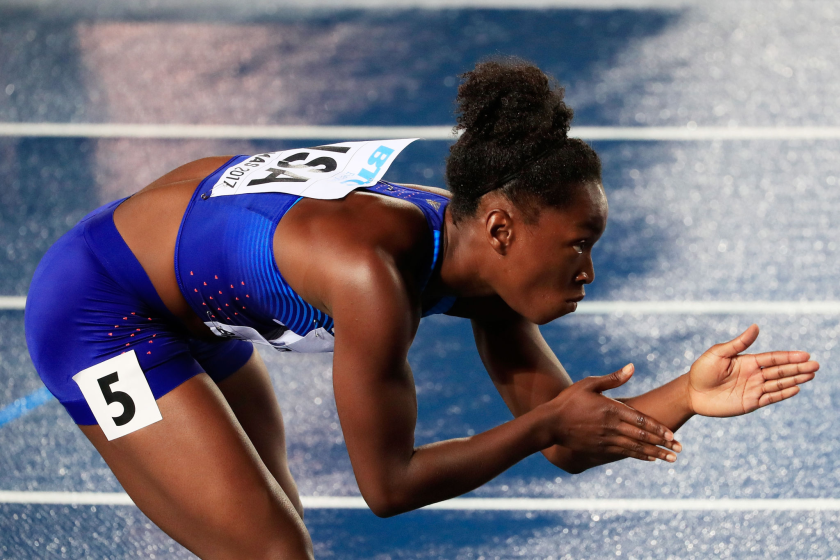 Tianna Bartoletta prepares to compete in the 400-meter relay during the 2017 IAAF/BTC World Relays.