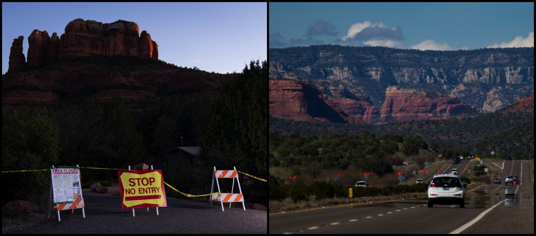 At left, signs block the entrance to the closed Cathedral Rock Trail. At right, normally streaming with traffic, Arizona State Route 89A heads into Sedona.