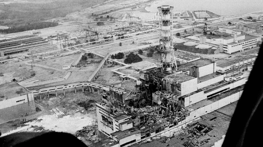 This is an aerial photo of the Chernobyl nuclear power plant taken two or three days after the 1986 explosion that spread clouds of radioactive dust across the western part of the Soviet Union and Europe.