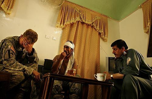 U.S. Army captain and Afghans