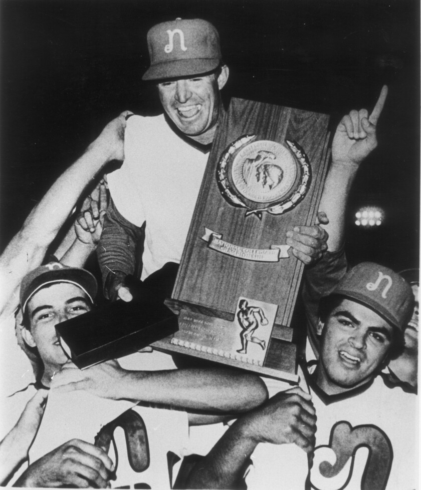 Bob Hiegert is carried by players after Cal State Northridge won the 1984 NCAA Division II baseball championship.