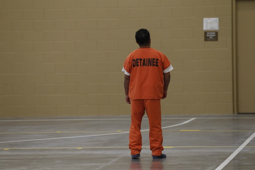 A detainee at the Otay Mesa Detention Center in San Diego.