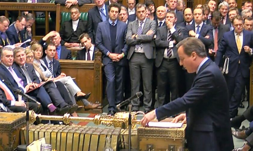 In this screen grab taken from video, Britain's Prime Minister David Cameron addresses Members of Parliament, in the House of Commons in London, Monday, Feb. 22, 2016, to lay out his case for staying in the European Union. Uncertainty over Britain's future in the European Union sent the pound plunging Monday, as Prime Minister David Cameron tried to shore up support for remaining in the bloc when the U.K. holds a referendum in June. (PA via AP) UNITED KINGDOM OUT