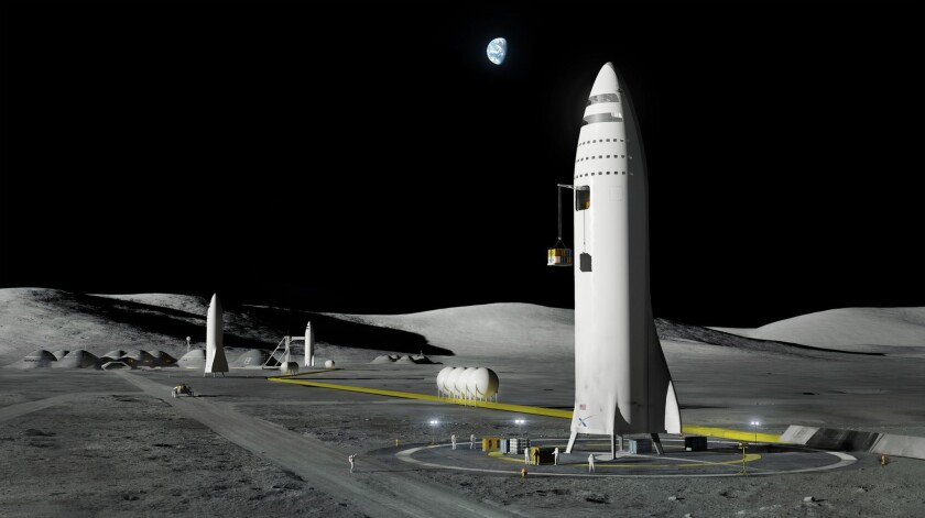 This artist's rendering shows SpaceX's proposed BFR rocket and spaceship system, which will be built at the Port of Los Angeles.