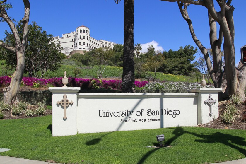 SAN DIEGO, CA March 12th, 2019 | This the west entrance at USD (University of San Diego) with a scho