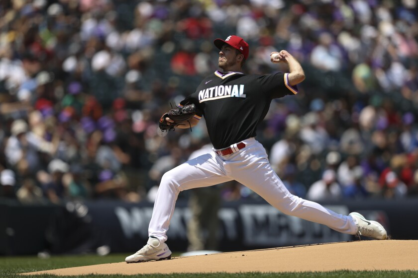 Matt Liberatore, of the National League, pitches during the first inning of the MLB All Star Futures baseball game, Sunday, July 11, 2021, in Denver. (AP Photo/Gabe Christus)