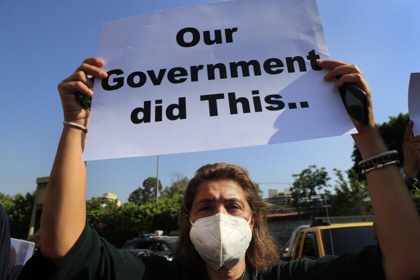 """مردی با نقاب علامتی را در دست دارد که روی آن نوشته شده است """"دولت ما این کار را کرد."""""""