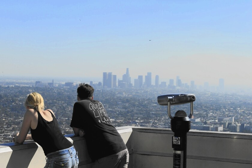 Downtown Los Angeles as seen from Griffith Park. Because California's smog problem is considered uniquely stubborn, it would have until 2037 to comply with the new ozone standard.