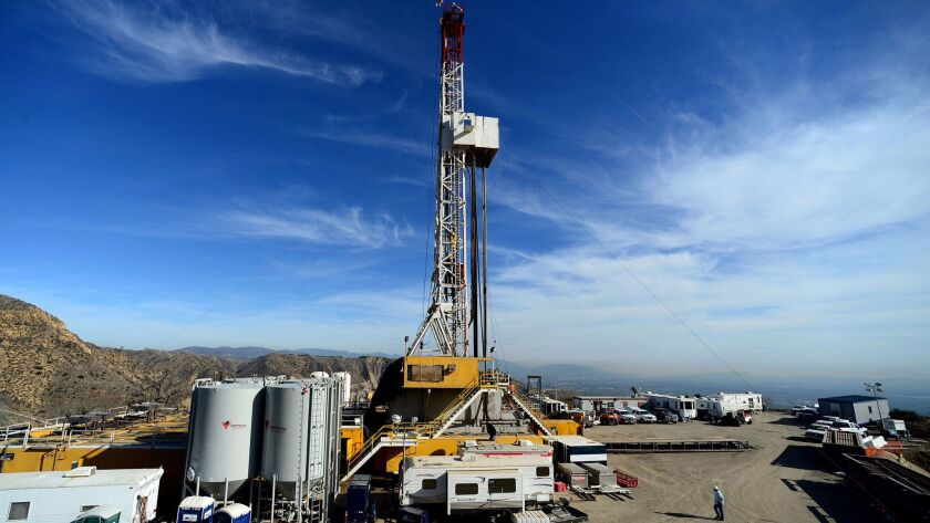 Crews work on stopping a gas leak at a relief well at the Aliso Canyon natural gas storage facility in December 2015. The leak is estimated to have spewed more than 100,000 tons of methane.