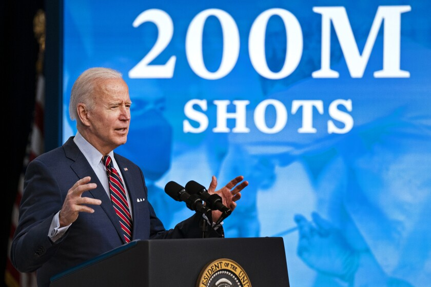 President Biden speaks about vaccinations.