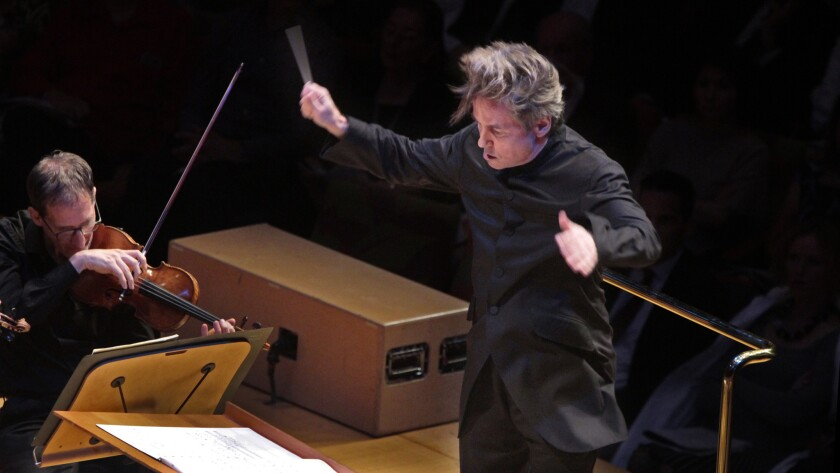LOS ANGELES, CA. NOV. 06, 2014. Esa-Pekka Salonen conducting the LA Phil in Bernard Herrmann's Suite