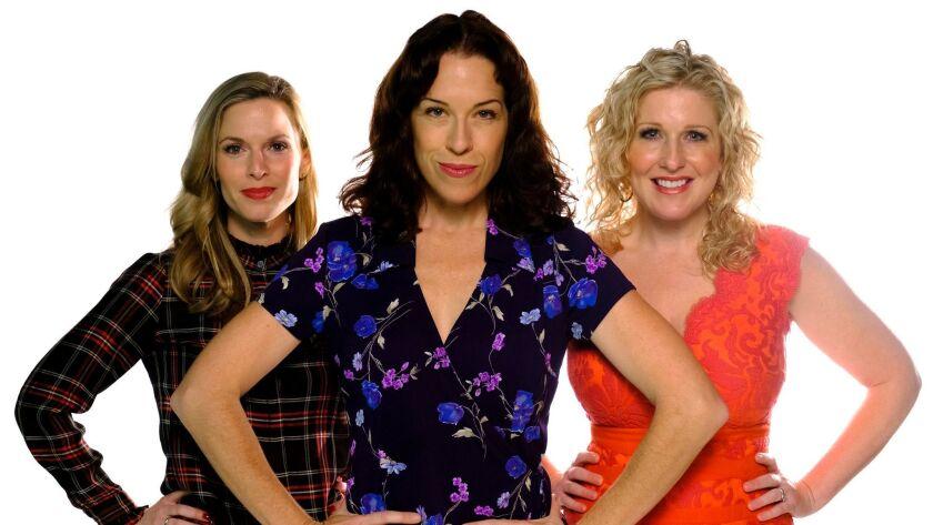 "Joy Yandell (center) stars with Allison Spratt Pearce (left) and Karyn Overstreet in San Diego Musical Theatre's ""9 to 5."""
