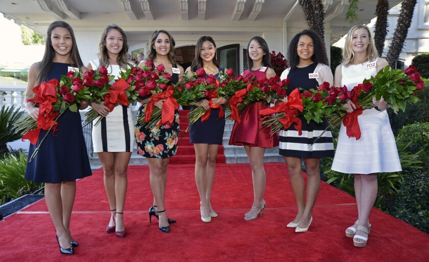 The 2015 Tournament of Roses Royal Court who will support the Rose Queen and serve as ambassadors for Pasadena's 126th edition pose for a photo in Pasadena, Calif., Monday, Oct. 6, 2014. Left to right: Emily Alicia Olivas Stoker, 17, Temple City High School; Veronica Sara Mejia, 19, Pasadena City College; Mackenzie Joy Byers, 18, Pasadena City College; Gabrielle Ann Current, 18, Flintridge Sacred Heart Academy; Simona K. Shao, 17, Westridge School; Madison Elaine Triplett, 17, John Marshall Fundamental High School and Bergen Louise Onufer, 17, Mayfield Senior School. (AP Photo/Pasadena Tournament of Roses)