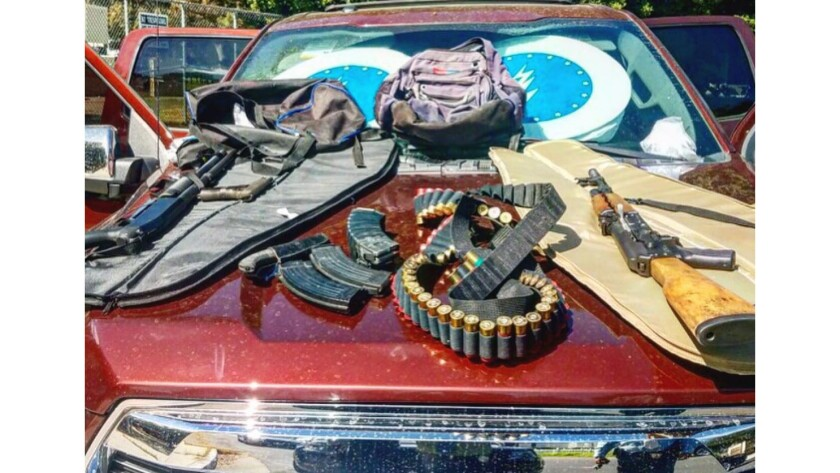 Frame grab from a Los Angeles School Police video of weapons seized from Russell Polsky, 60, of Stud