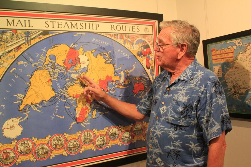 La Jolla Map Museum director Richard Cloward highlights the colorful and eye-catching nature of pictographic maps by British artist McDonald Gill.
