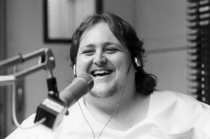 Talk radio personality Joe McDonnell at work in the KMPC studios in Hollywood in 1992.