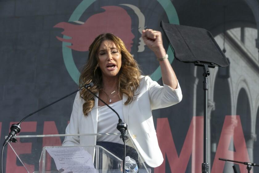 Caitlyn Jenner speaks at rally.