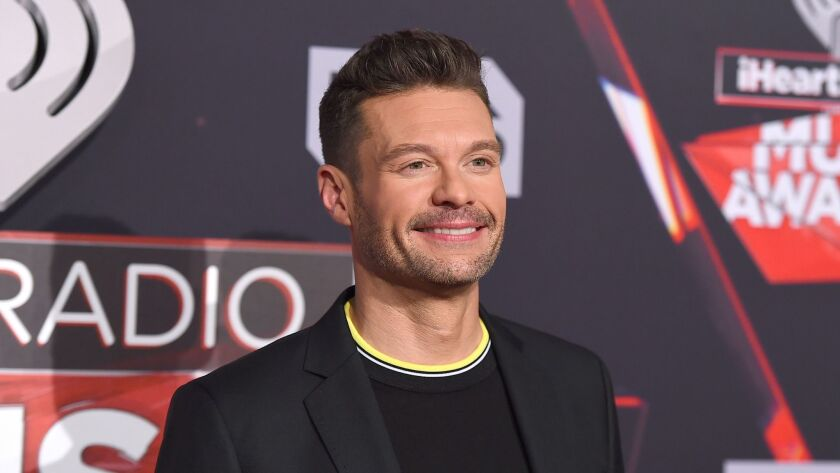 Ryan Seacrest arrives at the iHeartRadio Music Awards at the Forum on Sunday, March 5, 2017, in Ingl