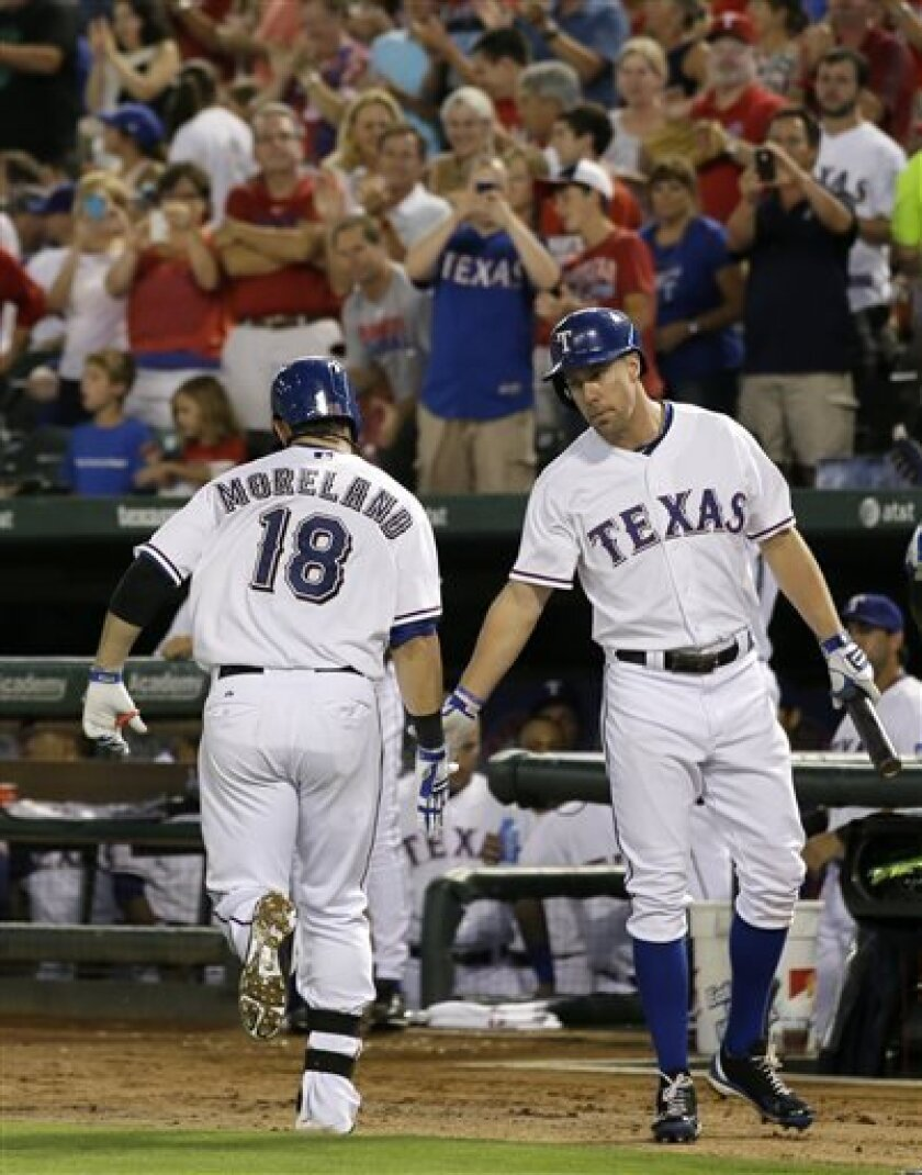 Texas Rangers' Mitch Moreland (18) is congratulated by David Murphy, right, following Moreland's solo home run off a pitch from Milwaukee Brewers' Marco Estrada in the third inning of a baseball game Tuesday, Aug. 13, 2013, in Arlington, Texas. (AP Photo/Tony Gutierrez)