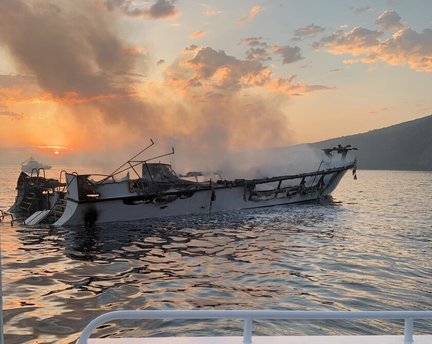 The Conception sank off Santa Cruz Island after the Sept. 2 fire that killed 34 people.