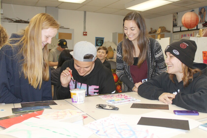 Brittany Balcom with students.JPG