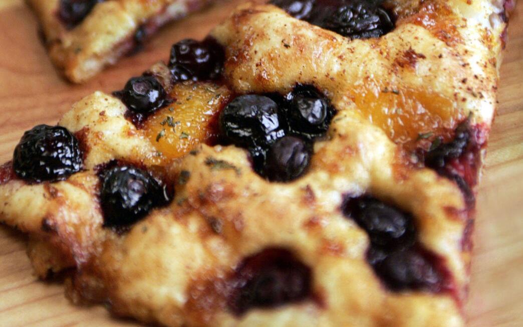 Blueberry and caramelized orange marmalade focaccia