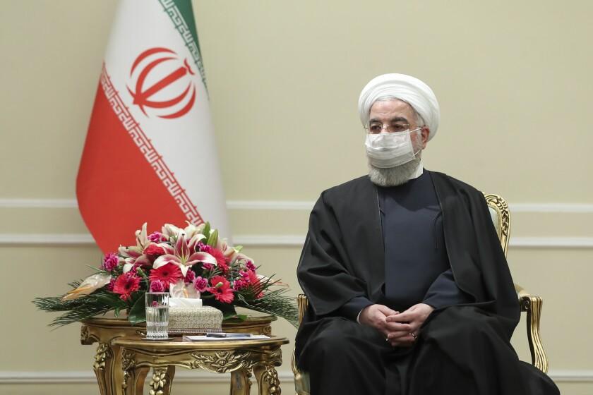 El presidente iraní Hasán Ruhani en Teherán el 7 de marzo del 2021.