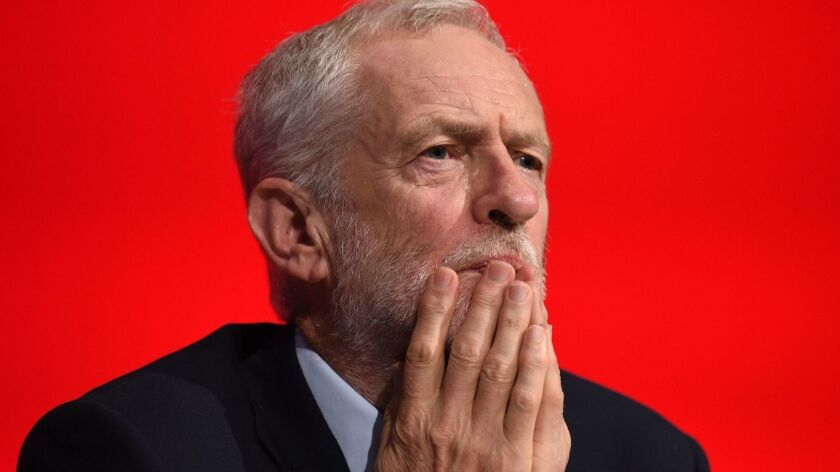 Britain's opposition Labor Party leader Jeremy Corbyn listens to speeches Sept. 25, the third day of the party conference in Liverpool, northwest England.