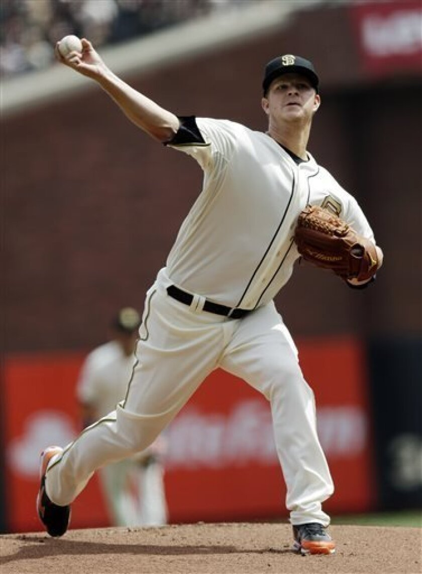 San Francisco Giants starting pitcher Matt Cain throws to the St. Louis Cardinals during the first inning of a baseball game, Sunday, April 7, 2013, in San Francisco. (AP Photo/Marcio Jose Sanchez)