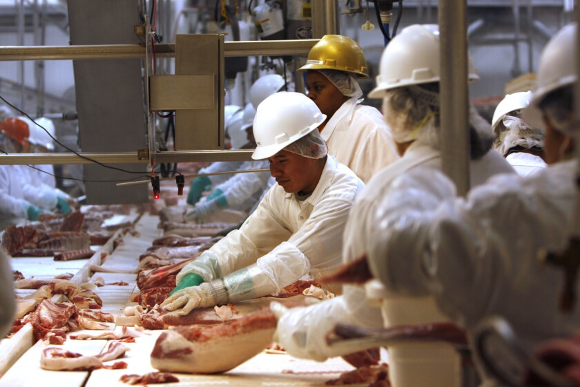 Pork processing workers