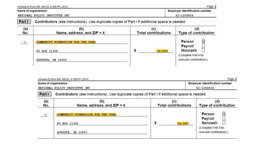 Excerpts from tax records provided by Richard Spencer show donations received by his nonprofit in 2013, above, and 2014.