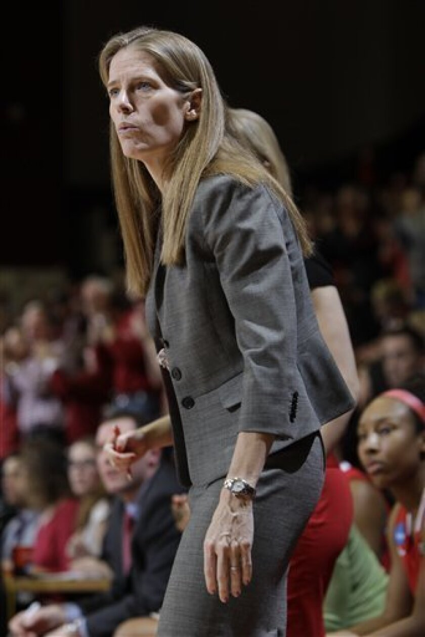 St. John's head coach Kim Barnes watches game against Stanford in the first half of a second-round NCAA women's college basketball tournament game in Stanford, Calif., Monday, March 21, 2011. (AP Photo/Paul Sakuma)