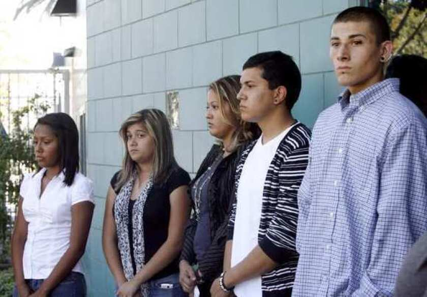 Glendale Unified students take part in the ACLU lawsuit announcement in 2011.