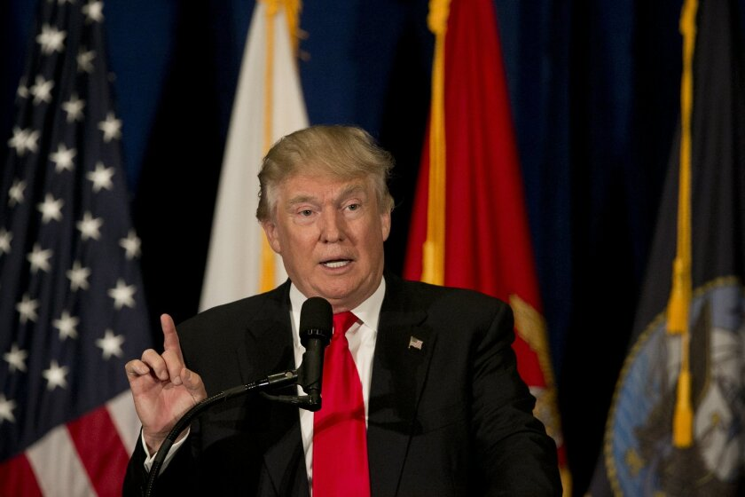 Donald Trump discusses a plan to help veterans and talks for the first time publicly on recent events in Dallas, Texas., during a speech at Westin Town Center in Virginia Beach, Va., on Monday, July 11, 2016. (Kristen Zeis/The Virginian-Pilot via AP)