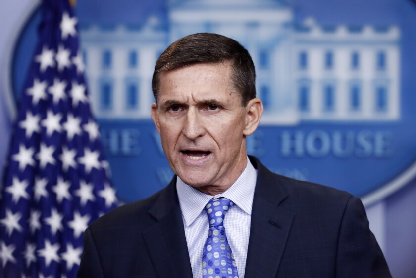 """FILE - In this Feb. 1, 2017 file photo, then-National Security Adviser Michael Flynn speaks during the daily news briefing at the White House, in Washington. A former federal judge appointed to review the Justice Department's motion to dismiss criminal charges against ex-national security Michael Flynn has found that the government's request should be denied because there is """"clear evidence of a gross abuse of prosecutorial power."""" Former U.S. District Judge John Gleeson says in a filing Wednesday that the government """"has engaged in highly irregular conduct to benefit a political ally of the President."""" (AP Photo/Carolyn Kaster, File)"""