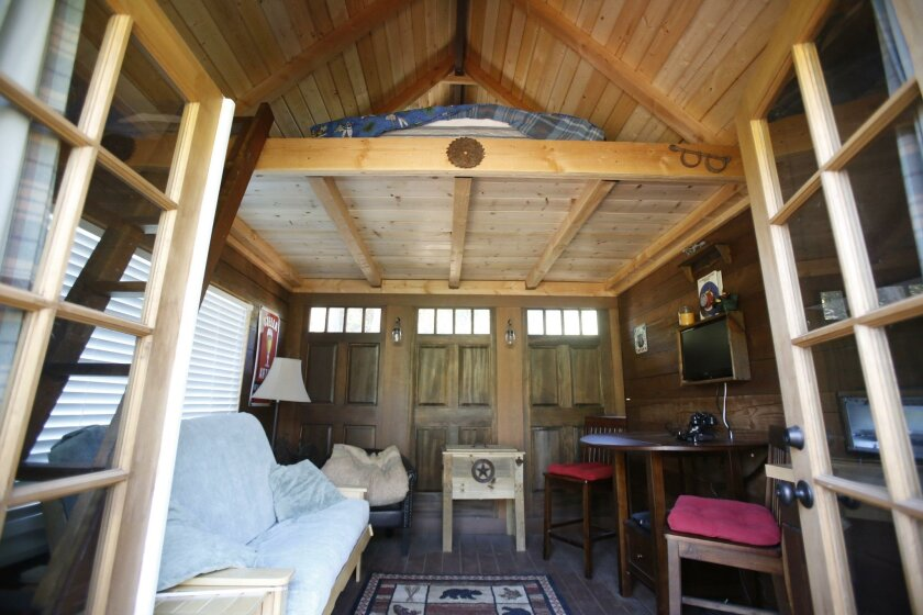 The main room of the tiny home at 26779 Old Highway 80 in Guatay.