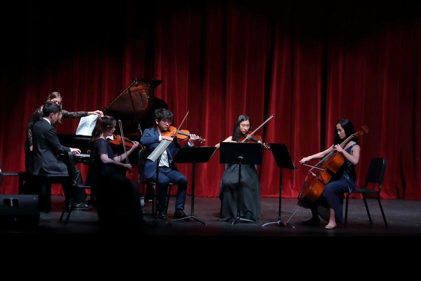 The Advanced Orchestra String Quintet: Jason Li (piano), Sara Maxman (violin), Saeji Hong (violin), Megan Peng (viola), Josephine Kim (cello)