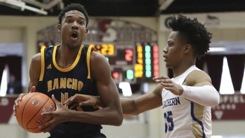 Rancho Christian's Evan Mobley #4 in action against McEachern during a high school basketball game a